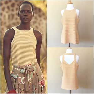 "Anthropologie | Deletta ""Isa"" yellow striped tank"